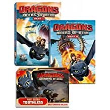 Dragons: Riders of Berk - Part 1 & 2 DVD Bundle w/ San Diego Comi Con Exclusive First Edition Toothless Figure