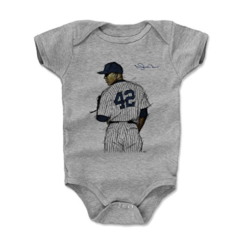 500 LEVEL Mariano Rivera New York Yankees Baby Clothes, Onesie, Creeper, Bodysuit (12-18 Months, Heather Gray) - Mariano Rivera Sig B