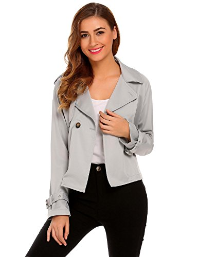 (Venena Women's Casual Lapel Short Trench Coat Long Sleeve Lightweight Button Open Front)