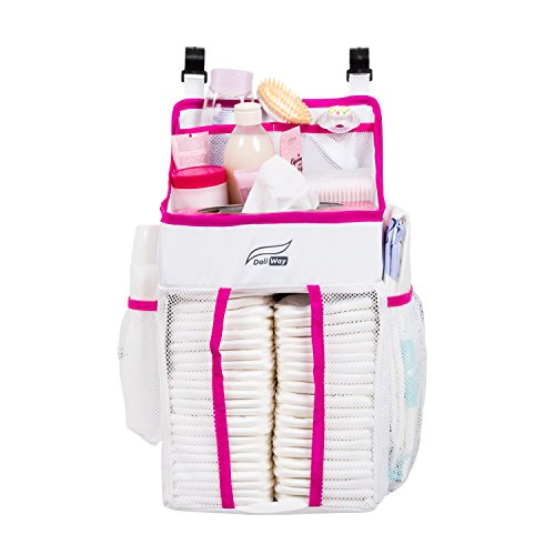 DaliWay Baby Diaper Organizer for Nursery (Pink) - Girly Diaper Stacker