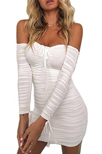 White2 Verano Bodycon Apretada Vestido Mujeres Club Acanalada Malla Hombro Las 7w5Azqx