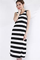 Unimommy Striped Loose Maternity Postpartum Nursing Maxi Dress in Home and Out (Light Gray)