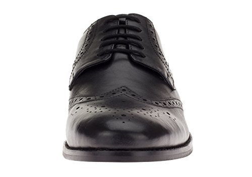 Gino Valentino Men's Leather Dress Shoe Lace-Up Tyson Wingtip Oxford (40.5 M EU / 7.5 D(M) US, Black)