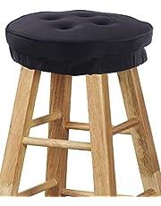 "Big Hippo Bar Stool Cushions,Super Soft Memory Foam Bar Stool CoverRound Stool Seat Cushion with Non-Slip Backing and Elastic Band 13"" Black"