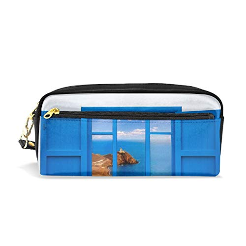 Almeria View From Blue Window Makeup Bag, Pouch Bag CuteCosmetic Bag Toiletries Kit Bag For Travel ()