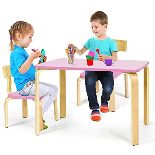 COSTWAY Kinderen Houten Tafel en 2 Stoelen Set, 3-Delige Kindertafel & Stoel, Kinderen Bentwood Tafel en Stoel Set…