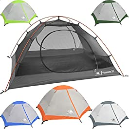 Hyke & Byke Yosemite 1 and 2 Person Backpacking Tents with Footprint – Lightweight Two Door Ultralight Dome Camping Tent