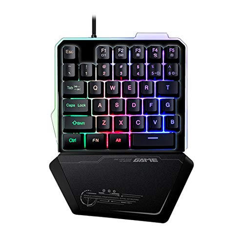 One Handed Gaming Keyboard, LED Backlit Wired Single-Handed Game keypad, Portable Mini Gaming Keyboard