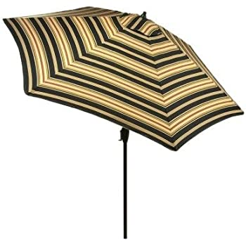 Hampton Bay 9 Ft. Aluminum Market Patio Umbrella In Charcoal Stripe With  Push Button