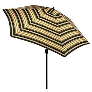 Hampton Bay 9 Ft. Aluminum Market Patio Umbrella In Charcoal Stripe With  Push Button Tilt