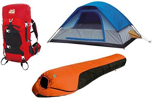 Alpinizmo High Peak USA Magadi 5 Tent Stratos 40 & Mt. Rainier 0F Sleeping Bag, Red/Blue/Orange, One Size ()