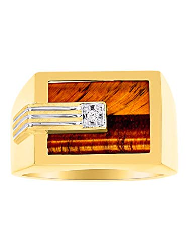 (RYLOS Designer Ring With Centered Diamond in Genuine Tiger Eye Set in 14K Yellow Gold)