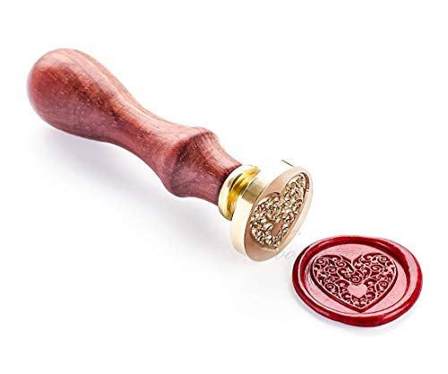 VOOSEYHOME the Heart Wax Seal Stamp with Rosewood Handle, Decorating on Invitations Envelope Sealers Letters Posters Gift Packings for Birthday Themed Parties Weddings Signatures etc