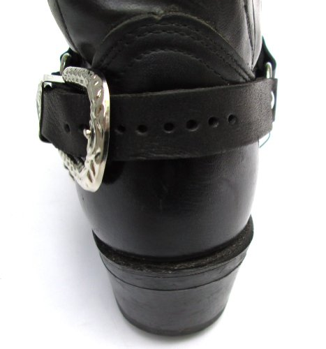Western Boots Boot Chains Black Leather with 2 Steel Chains