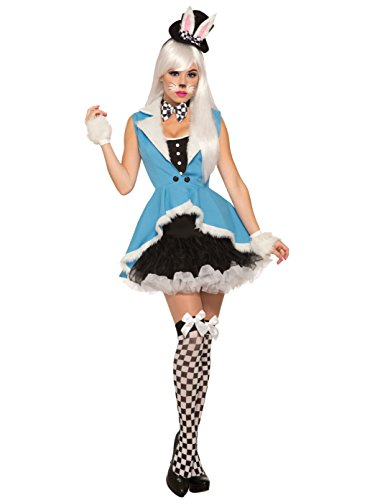 Forum Women's White Rabbit Deluxe Costume, Black/Blue, STD -