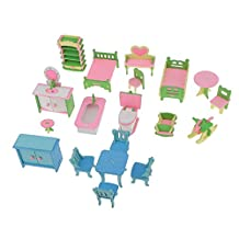Dovewill 4 Sets Lots of Wood Dollhouse Furniture Kits Multicolor Miniature for Dollhouse Miniatures Accessory