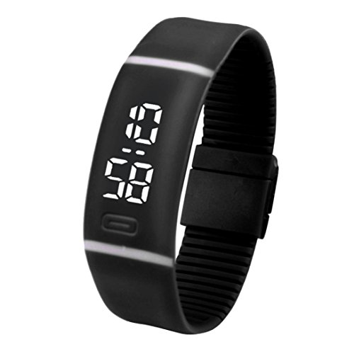 - LED Watch, Malltop Unisex Rubber Bracelet Water Resistant Touch Screen White LED Digital Display Sports Wrist Watch (Black)
