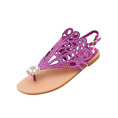 2018 Verano Sandalias y Chanclas, WINWINTOM Zapatillas de Estar por Casa, Vendimia Mujer Rhinestone Talón Plano Anti Skid Playa Zapatos Roma Sandalias Zapatilla Morado