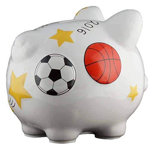 Sports Piggy Bank - Small - (Personalized & Custom With Name And Year) (First Financial Toy For Teaching Boys & Girls About Saving Money) (Perfect Unique Gift Idea For Babys ()