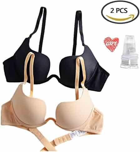 af1ef87a87e63 ZukuLife Women s Essentials Deep U Multi-Way Convertible Push Up Plunge Bra