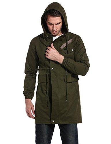 (DAZZILYN Men's Cotton Windbreaker Jacket Casual Trench Coat Winter Outdoor Coat with Hood Army Green)