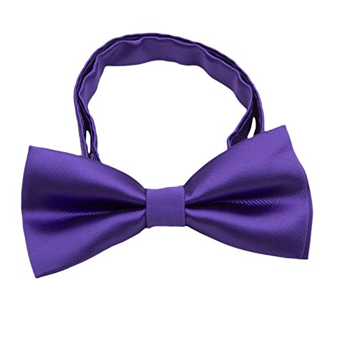 Silk Bow ties for Kids Boys - Adjustable Pre Tied Bowties for Toddler Baby (Purple)