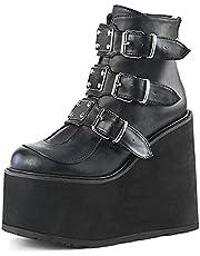MeiLuSi Platform Laarzen Goth voor Vrouwen Wedges Hoge Hakken Bezaaid Enkellaarsjes
