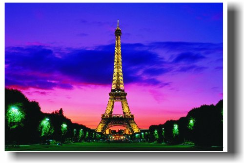Eiffel Tower at Night - Paris - Pink Sunset - NEW World Travel Poster