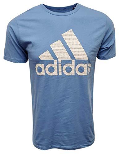 adidas Men's Badge of Sport Graphic Tee (Small, Light Blue/White (Mesh Logo))