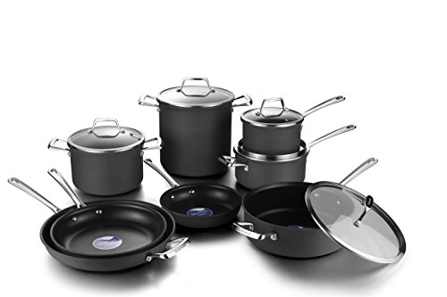 Cheap COOKSMARK Hard Anodized Nonstick Induction Cookware Set,13-Piece Aluminum Pots and Pans Set with Lids, Dishwasher Safe Oven Safe, Black