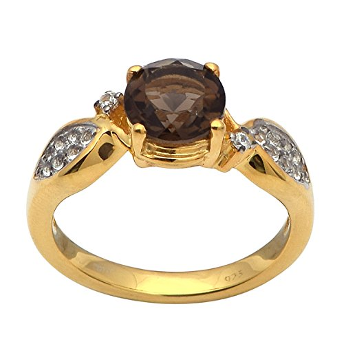Smoky Quartz Cubic Zirconia Ring - 4