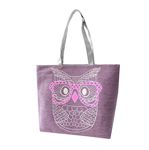 IEason Fashion Lady Owl Shopping Handbag Shoulder Canvas Bag Tote Purse (Purple)