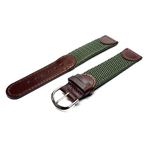 NATO Extra Long Band, YQI Men's Calfskin Leather and Nylon Watch Strap Swiss-Army Style Watch Band (85x125mm) (18mm)