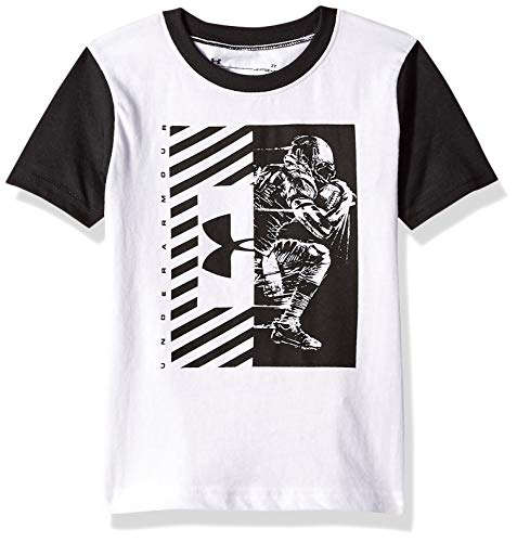 (Under Armour Boys' Toddler Short Sleeve Graphic Tee, White/Black Football)