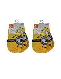 Despicable Me Minion 6 pack Boys No Shows Socks (Shoe Size 9-3 / EU 26-35)