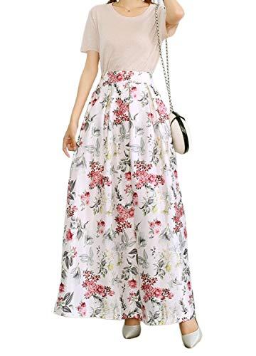 Novia's Choice Women African Floral Print Pleated High Waist Maxi Casual A-Line Skirt(White&Flower M)
