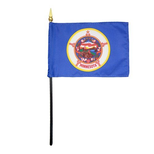 Minnesota 1957 State Hand Held Desk Table Top Polyester Flag 4'' X 6'' on 10'' Black Plastic Staff with Gold Spear Tip (12 Pack)