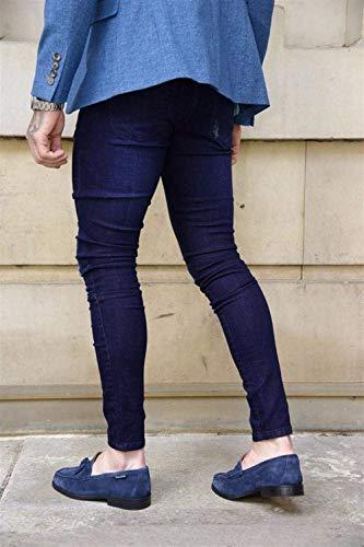 Poches Mode Occasionnels Homme Extérieur Blau Tiefes Printemps Denim Automne Basique Maigre Déchiré Avec Pantalon gXAzqvg