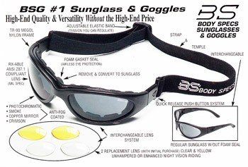 s or Goggles BSG Matte Black Frame 3 Lens Set (Body Specs Black Sunglasses)