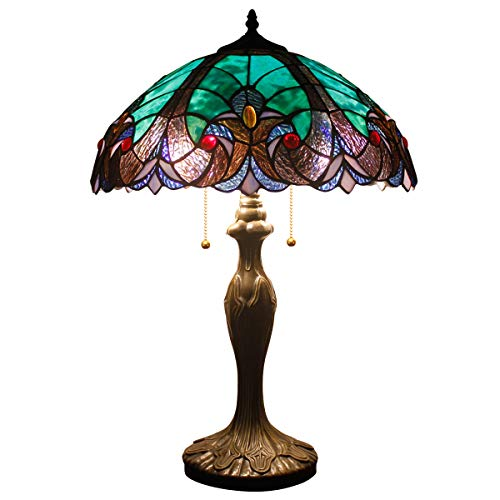 Tiffany Style Lamps Stained Glass Table Lamp 24 Inch Tall Green Liaison Shade 2 Light Antique Base for Living Room Bedroom Coffee Table Reading Desk Beside Set S160G - 16 Lamp Inch Glass Stained