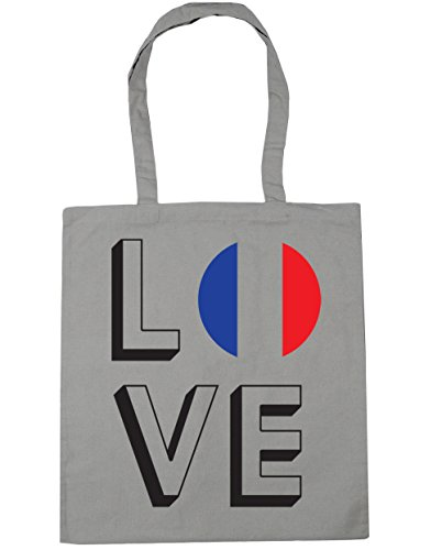 x38cm Grey Light France Beach Tote Bag Love Gym 42cm litres Shopping 10 HippoWarehouse Z1Txqw1