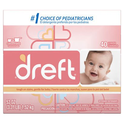 Dreft Baby Original Scent Powder Detergent 40 Loads 53 OZ (Pack of 8)
