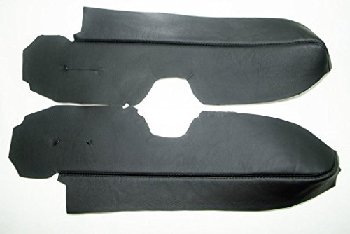 (Fits 2007-2012 Honda CR-V Real Black Leather Front Door Panel Armrest Cover (Leather Part Only))