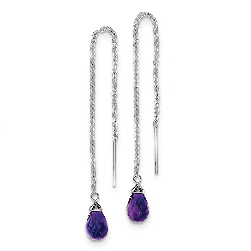 Solid 925 Sterling Silver Rhodium Plated 3.9IN Long Purple Amethyst Threader Bead Dangle Earrings (Earrings Amethyst Threader)
