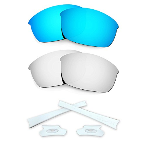 HKUCO Blue/Silver Polarized Replacement Lenses and White Earsocks Rubber Kit For Oakley Flak Jacket - Blue Oakleys Lenses With White