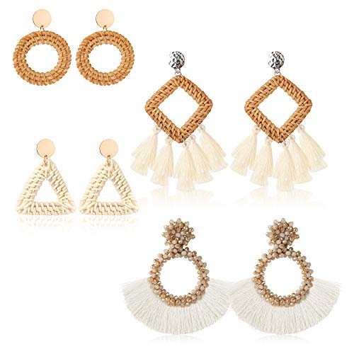Thunaraz 4Pairs Rattan Tassel Earrings for Women Drop Dangle Bohemian Statement Earrings Handmade Straw Wicker Braid Woven Earrings