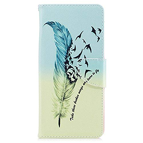 LG G6 Case, Easytop Slim Fit Stand Feature PU Leather Wallet Folio Flip Cover Protective Case with Card Slot Cash Pocket Magnetic Closure for LG G6 (2017) (Feather Freedom Flying Birds Learn to Fly) -
