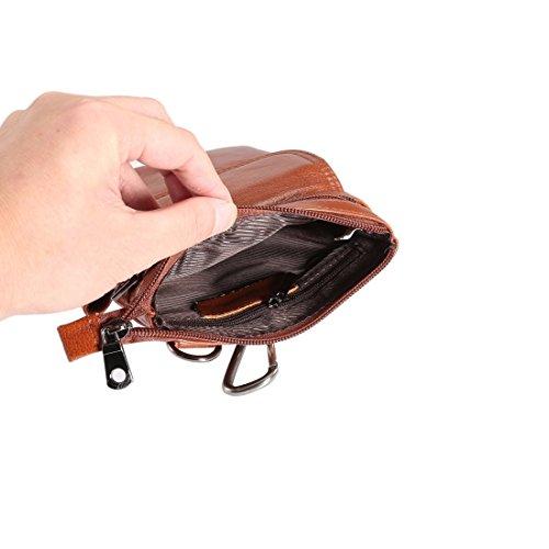 Protege tu iPhone, 6,5 pulgadas y por debajo de la pequeña textura universal de cuero genuino hombres de estilo vertical de la caja de doble cremallera hombro bolsa de transporte con hebilla de correa Marrón