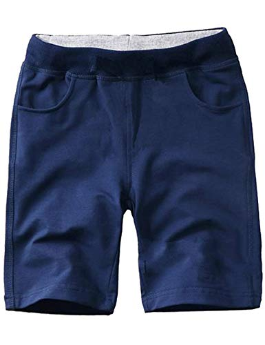 WIYOSHY Boys' Knit Shorts Solid Color Comfort Elastic Waist Pull On Age 6-14 Yrs (Navy, 10)