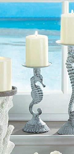 - wakatobi Shabby Distressed White Seahorse Nautical Ocean Fish Pillar Candle Holder Stand